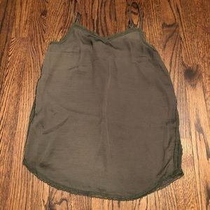 Who What Wear Olive Green Lace Trim Silk Tank